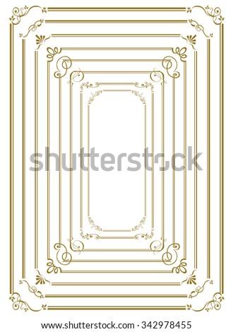 decorative gold frame set Vector  - stock vector
