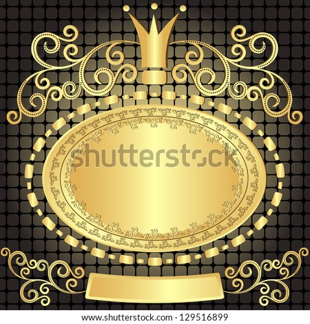 Decorative gold oval vintage plate on dark pattern (vector) - stock vector