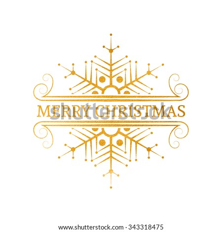 Decorative gold textured Christmas design element. Typographic vintage Christmas label, frame, border, badge, logo. Vector illustration for Christmas banner, invitation, postcard, card, vignette. - stock vector