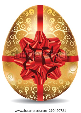 Decorative golden egg with festival red bow on white background.