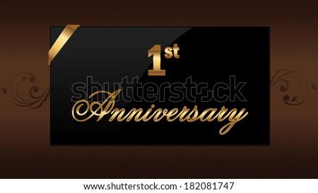 Decorative golden emblem first anniversary vector stock vector