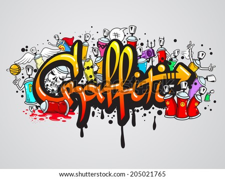 Decorative graffiti art spray paint letters and characters abstract wall artwork composition vector illustration - stock vector