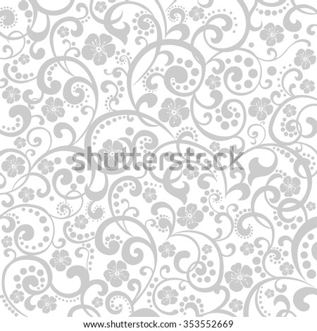 Decorative graphic curly background with flowers and leaves. vector illustration - stock vector