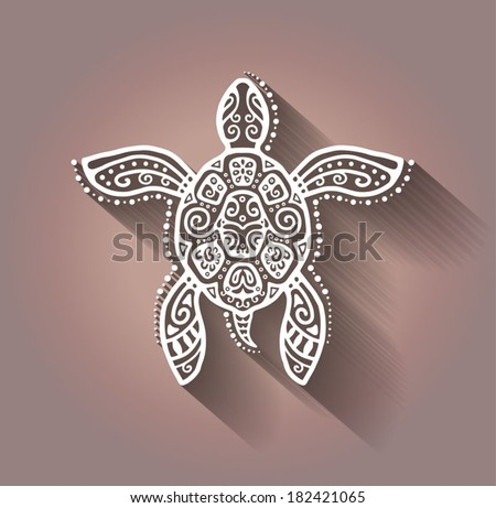 Decorative graphic turtle, tattoo style, tribal totem animal, vector illustration, isolated elements, lace pattern  - stock vector