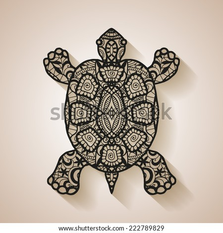 Decorative graphic turtle with shadow, tattoo style, tribal totem animal, isolated element for design, black lace pattern, vector illustration - stock vector