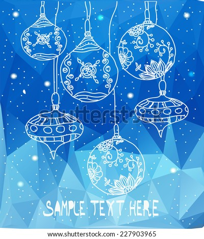 decorative graphic vector background with Christmas toys on a blue triangular background,Christmas balls - stock vector