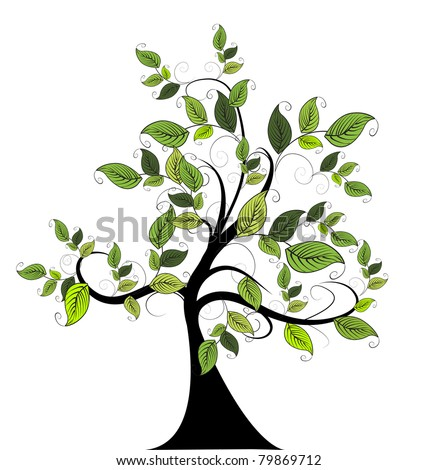 decorative green tree - stock vector