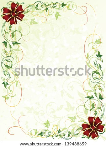 Decorative grunge background with floral elements and bows, illustration - stock vector