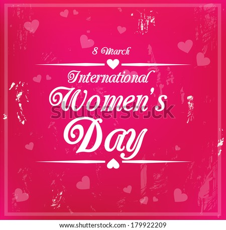 Decorative grungy card for international Women's Day on 8 March vector - stock vector