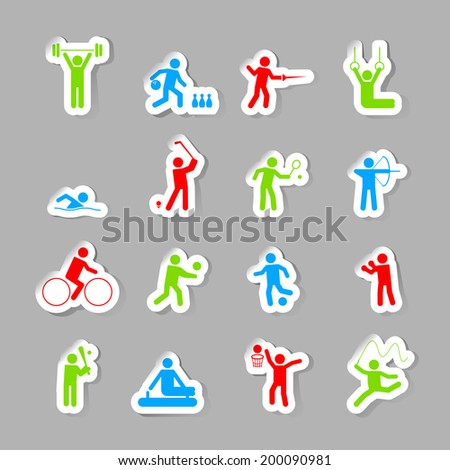 Decorative gymnastics soccer volley ball sport competitions design network symbols pictograms collection flat isolated vector illustration - stock vector