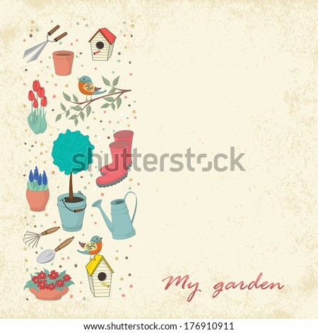 Decorative hand drawn greeting card with garden tools. Template for design textile, greeting cards, wrapping paper, packages, backgrounds. Vintage vector illustration. - stock vector