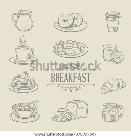 Decorative hand drawn icons breakfast foods coffee donuts juice croissant bread porridge pancake omelet milk. Vector illustration. - stock vector