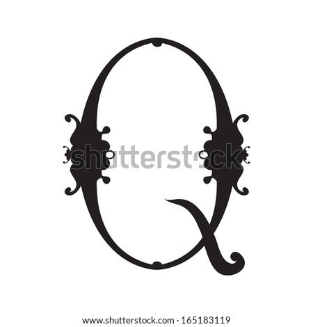 Decorative hand-painted letter in ancient style - stock vector