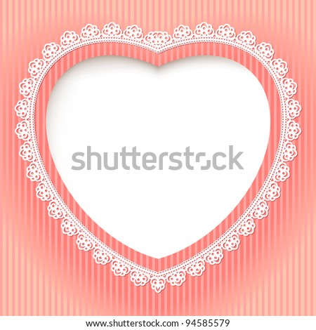 Decorative heart is on a pink background. Illustration for design - stock vector