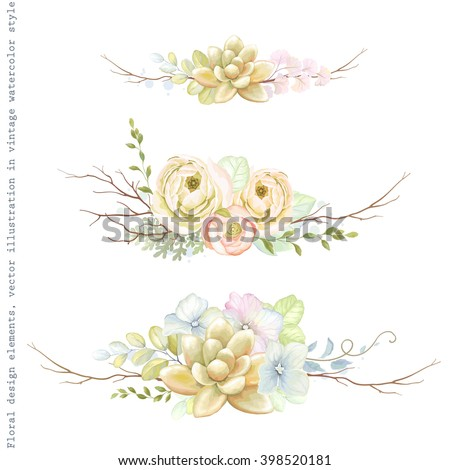 Decorative holiday horizontal ornaments of flowers ranunculus, succulents, leaves and old branches, tender floral vector illustration in vintage watercolor style. - stock vector