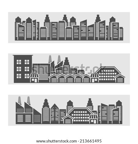 Decorative horizontal banners of modern city residential area cityscape and downtown edifice skyline  black abstract vector illustration - stock vector