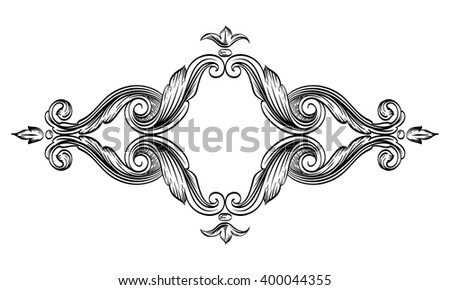 Decorative horizontal floral frame with stylized leaves. Floral frame drawing on a tablet. Contour black frame isolated on white background. - stock vector