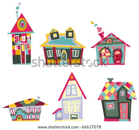 Decorative house set - stock vector