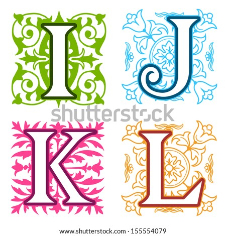 Decorative I, J, K, L, alphabet letters with vintage floral elements in different designs in a square format behind each uppercase colorful letter with silhouette detail - stock vector