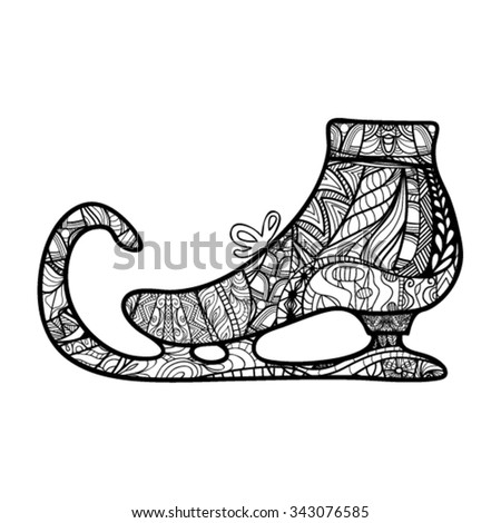 Decorative ice skate, zendoodle design element. Template greeting card, invitations, printing on bags and  for any other kind of design flyers, posters holiday, coloring books, vector illustration - stock vector