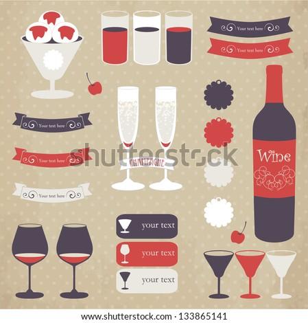 Decorative icon set of bar menu elements. Vector illustration in retro colors. - stock vector