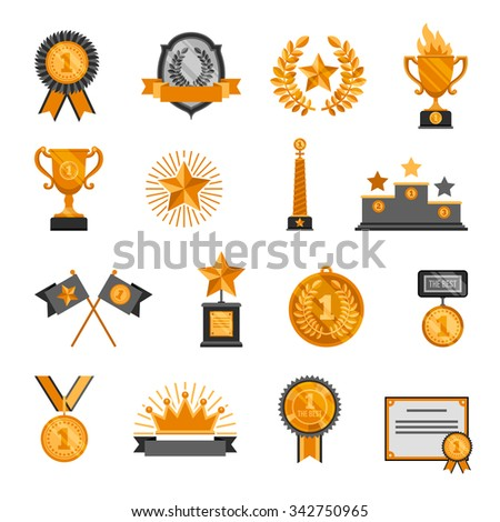 Decorative icons set of sport trophy and awards isolated vector illustration - stock vector
