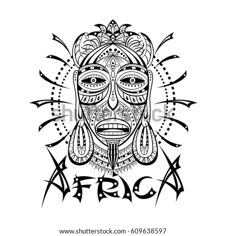 Decorative illustration african mask isolated on stock for Printable african masks coloring pages