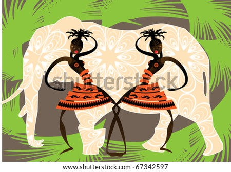 Decorative image of two dancing African girls
