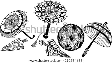 decorative image of  umbrellas in cartoon style - stock vector