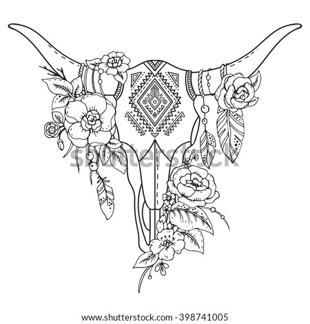 Decorative Indian bull skull with ethnic ornament, feathers, flowers and leaves. Hand drawn vector illustration for tattoo, print on t-shirt - stock vector