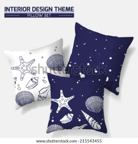 Decorative Indigo Sea Throw Pillow set design. Original Sea Shell pattern is complete, masked. Modern Interior design element. Creative Sofa Toss Pillow. Vector design template is layered, editable. - stock vector
