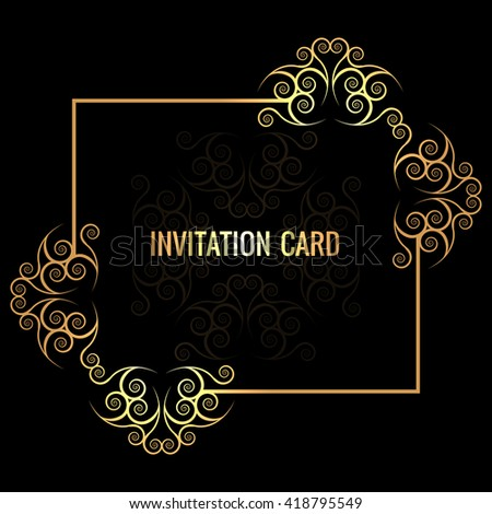 Decorative invitation card - stock vector