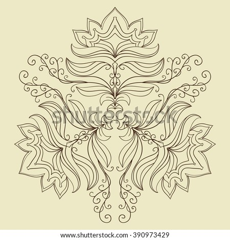 Decorative items to decorate your work. For the design and decoration background, packaging, fabrics, textiles. Abstract circular pattern mandala. - stock vector