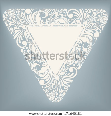 decorative label in triangle shape, vector illustration - stock vector