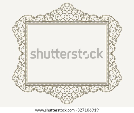 Decorative lace ornament, vintage frame with square empty place for your text. Vector illustration greeting, vintage invitation in beige, neutral colors. - stock vector