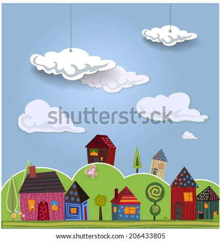 Decorative landscape with cute little houses. Vector illustration - stock vector