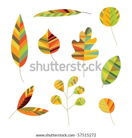 Decorative leaves in warm shades of green, brown and yellow. - stock vector