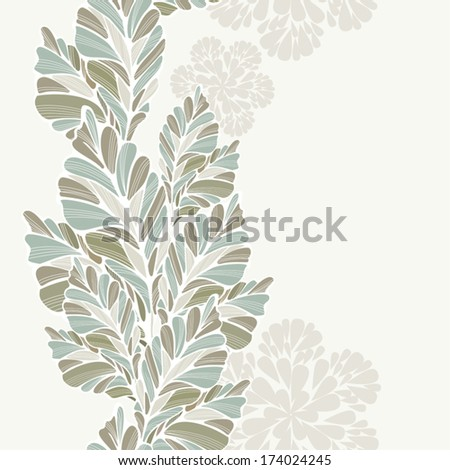 Decorative leaves vertical seamless pattern. Abstract leaves on background, in delicate colors. Vertical seamless pattern. Some space for your text. Vector elements are grouped. - stock vector