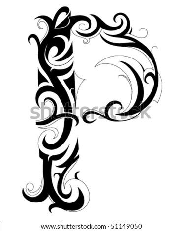 decorative letter font type p