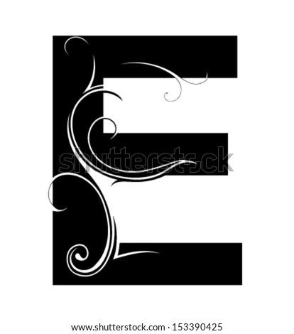 Decorative letter shape font e