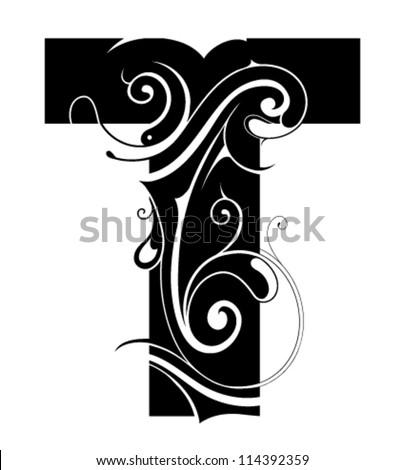 decorative letter shape font type t