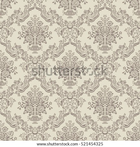 Decorative light floral background with flourish elements, leaves, and a vase with bouquet of flowers, seamless pattern background.