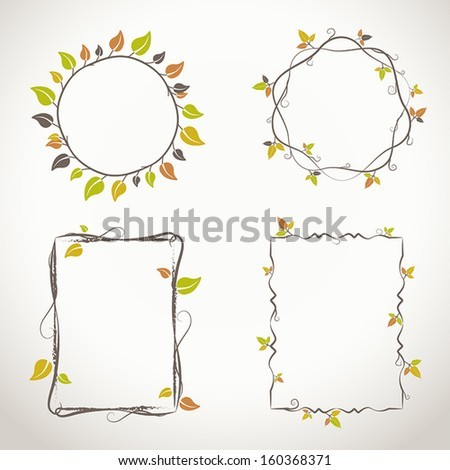 Decorative light floral frames with twigs and leaves with autumn colors - stock vector