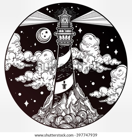 Decorative lighthouse. Searchlight tower for maritime navigational guidance. Template in boho style. Isolated Vector illustration. Tattoo, travel, adventure, meditation symbol. The great outdoors. - stock vector