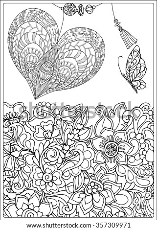 Decorative Love Heart with flowers and butterflies. Valentines day card. Coloring book for adult and older children. Coloring page. Outline drawing. Vector illustration - stock vector