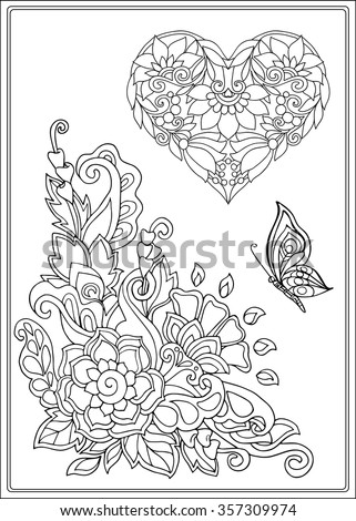 Decorative Love Heart With Flowers And Butterflies Valentines Day Card Coloring Book For Adult