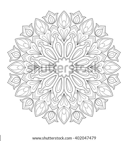 Decorative Mandala Illustration For Adult Coloring Well Arranged Group And Easy To Edit