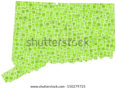 Decorative map Connecticut - USA - in a mosaic of green squares. A number of 4139 little squares are accurately inserted into the mosaic. White background.