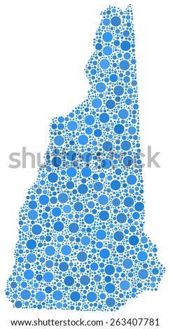 Decorative map New Hampshire - USA - in a mosaic of blue bubbles - stock vector