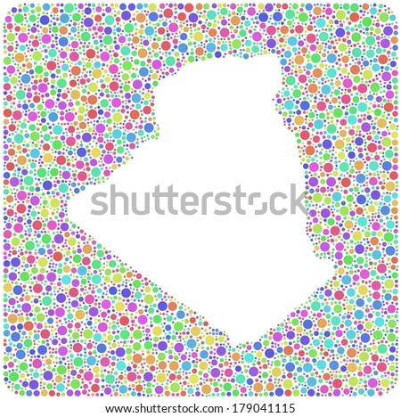 Decorative Map of Algeria - Africa - into a square icon. Mosaic of harlequin circles